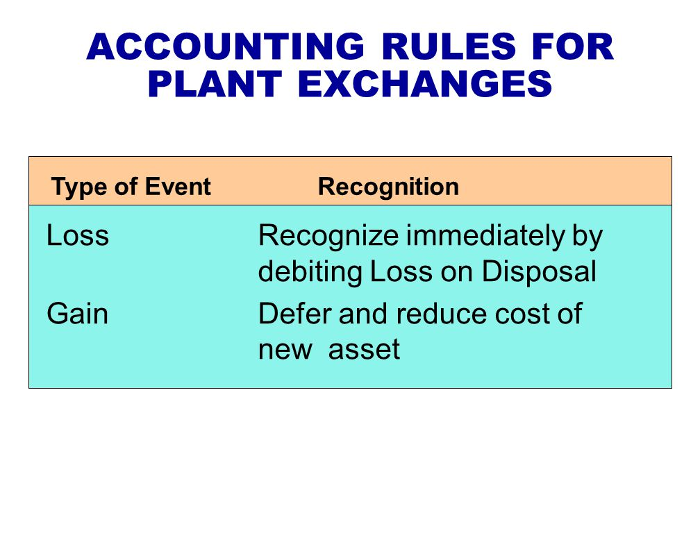 ACCOUNTING RULES FOR PLANT EXCHANGES