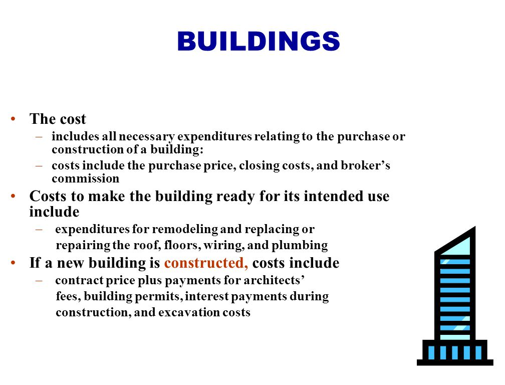 BUILDINGS The cost. includes all necessary expenditures relating to the purchase or construction of a building: