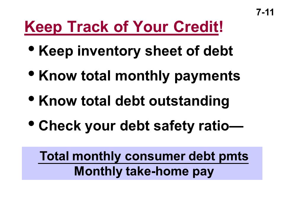 Keep Track of Your Credit!