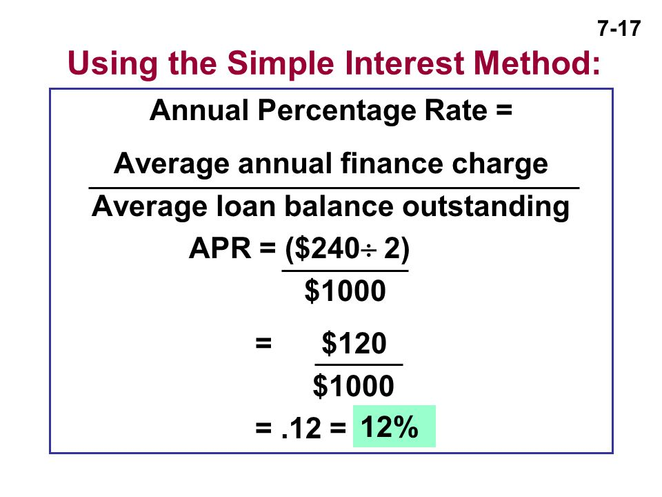 Using the Simple Interest Method: