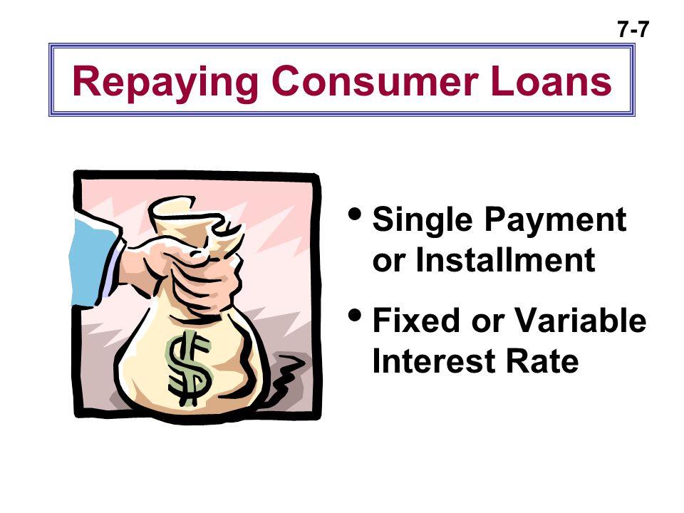 Repaying Consumer Loans