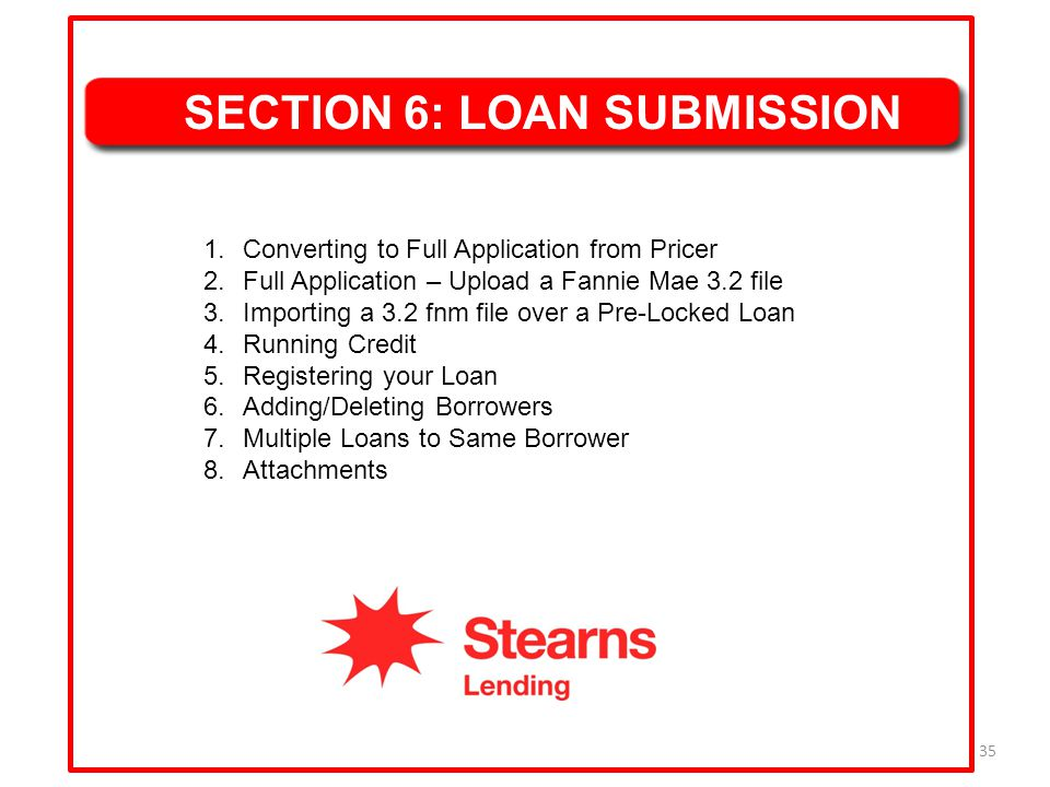 SECTION 6: LOAN SUBMISSION