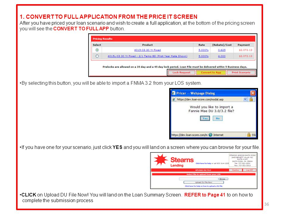 1. CONVERT TO FULL APPLICATION FROM THE PRICE IT SCREEN