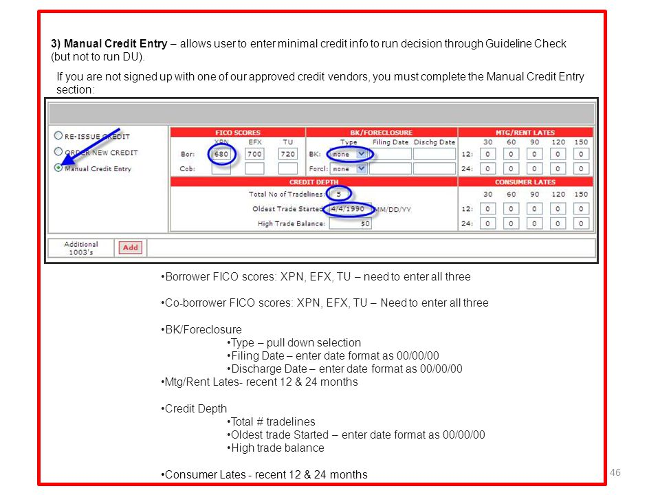 3) Manual Credit Entry – allows user to enter minimal credit info to run decision through Guideline Check