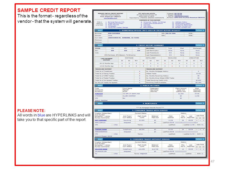 SAMPLE CREDIT REPORT This is the format - regardless of the