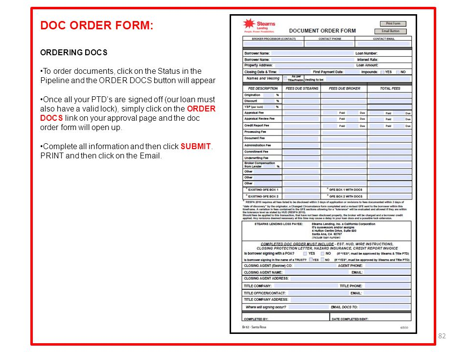 DOC ORDER FORM: ORDERING DOCS