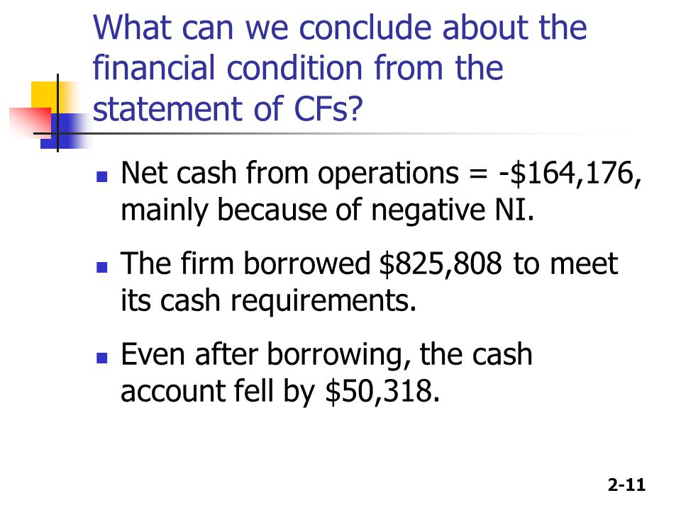 What can we conclude about the financial condition from the statement of CFs