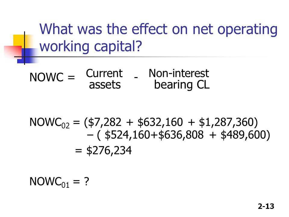 What was the effect on net operating working capital