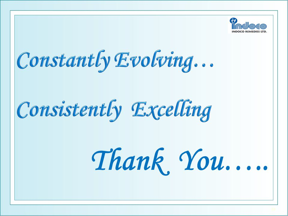Constantly Evolving… Consistently Excelling Thank You…..