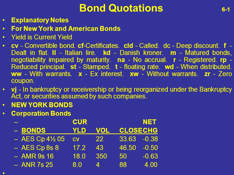 Bond Quotations 6-1 Explanatory Notes For New York and American Bonds