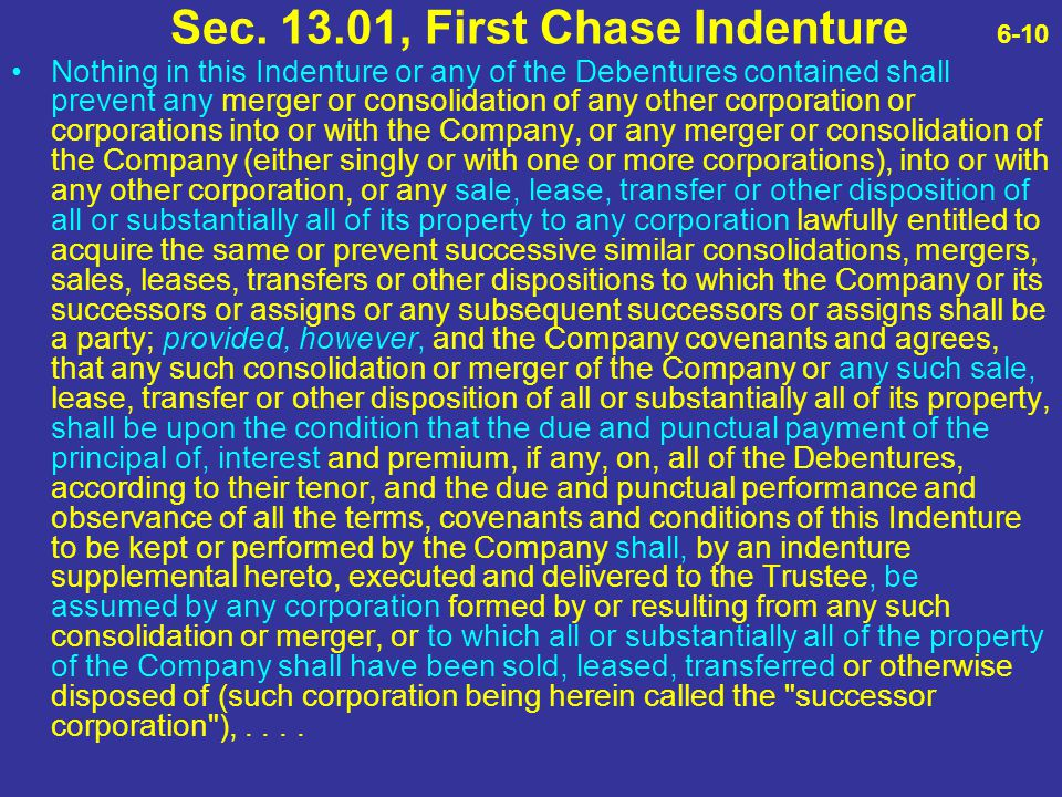 Sec. 13.01, First Chase Indenture 6-10