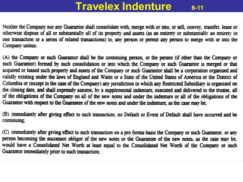 Travelex Indenture 6-11