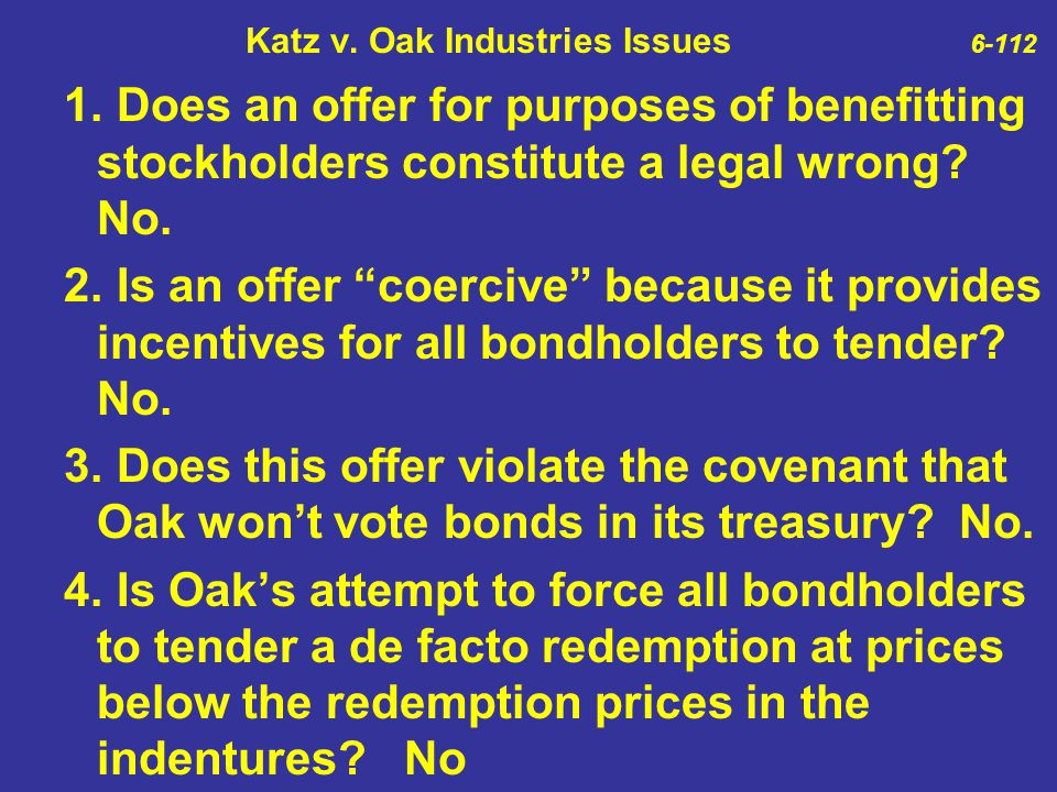 Katz v. Oak Industries Issues 6-112