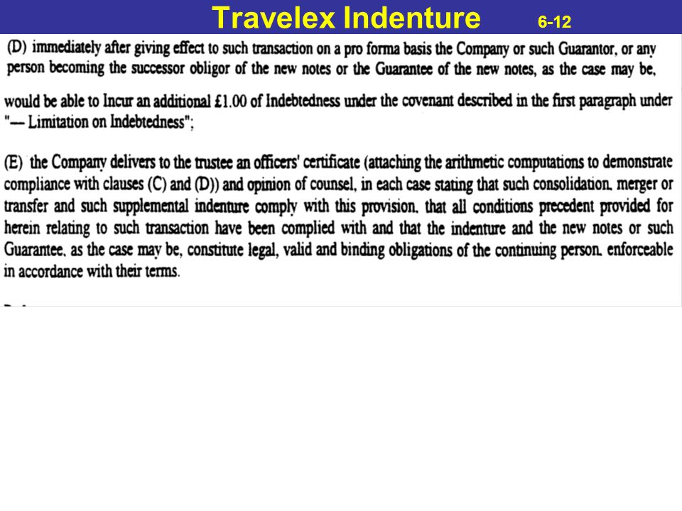 Travelex Indenture 6-12