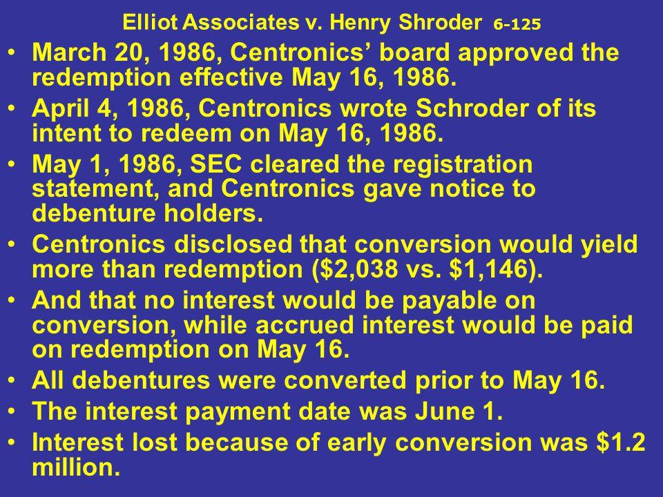 Elliot Associates v. Henry Shroder 6-125