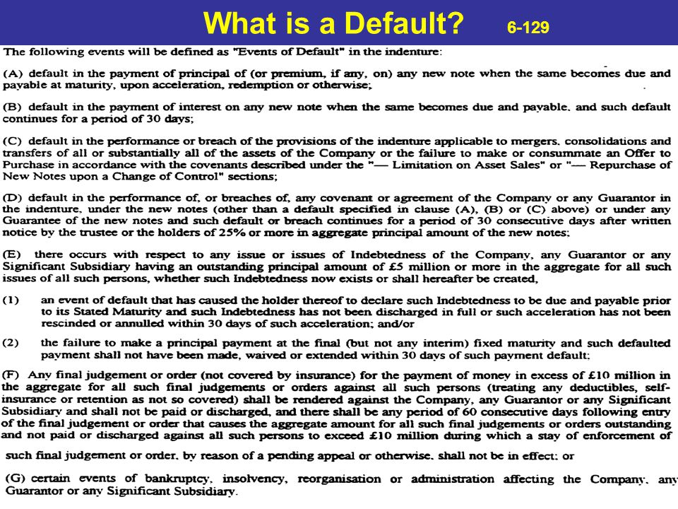What is a Default 6-129