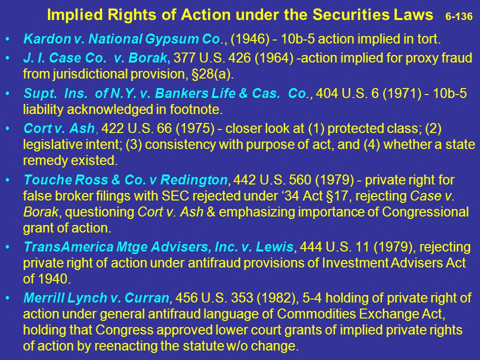 Implied Rights of Action under the Securities Laws 6-136