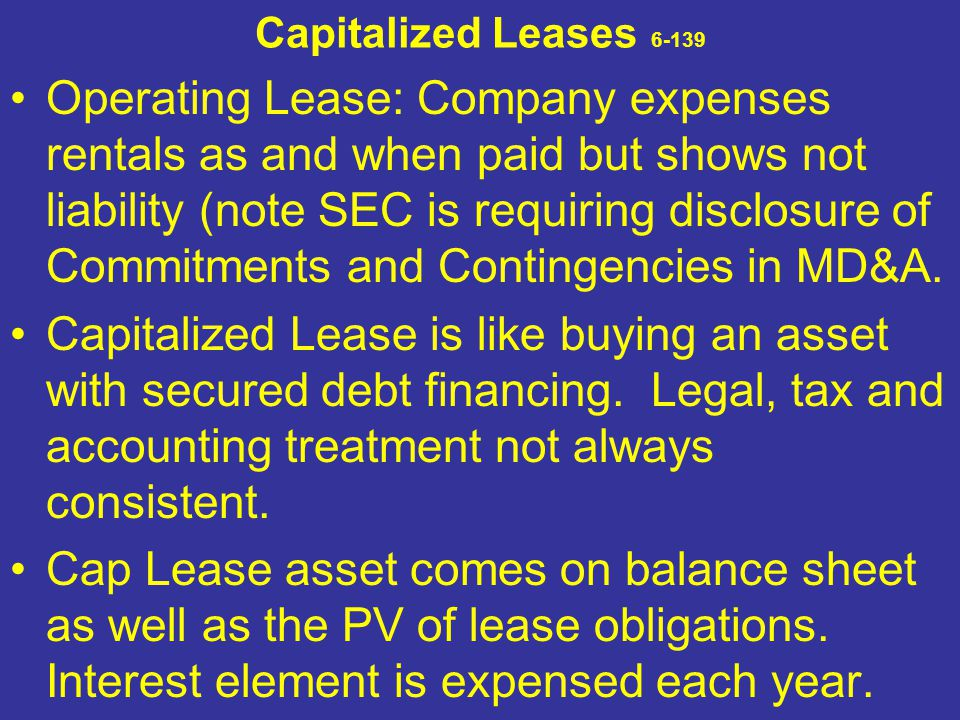 Capitalized Leases 6-139