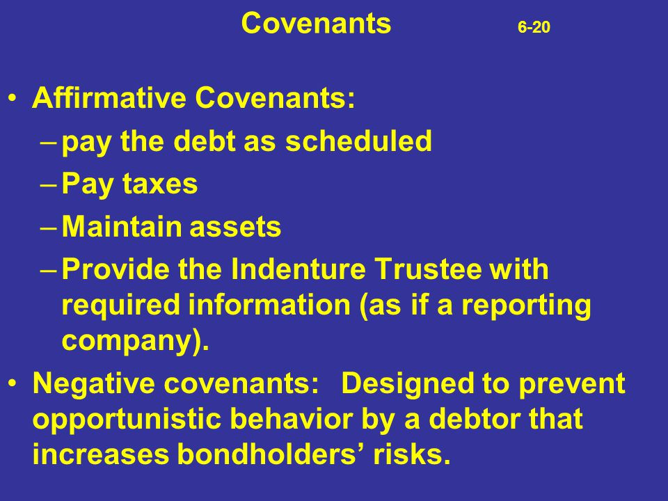 Covenants 6-20 Affirmative Covenants: pay the debt as scheduled. Pay taxes.