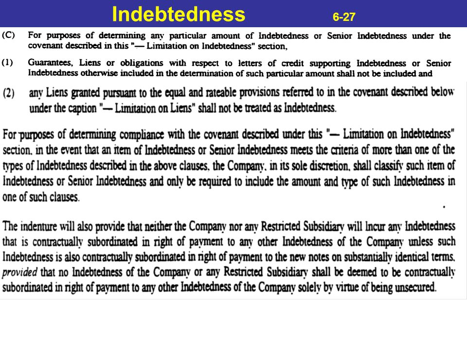 Indebtedness 6-27