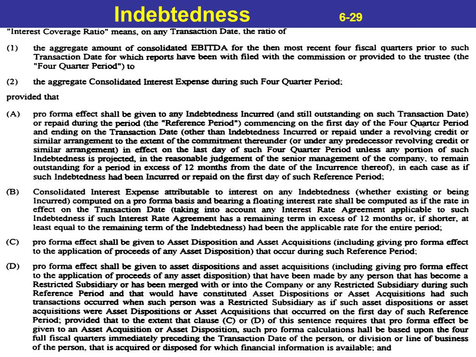 Indebtedness 6-29