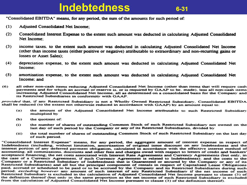 Indebtedness 6-31