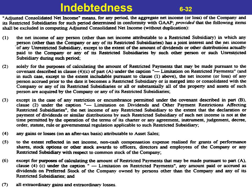Indebtedness 6-32
