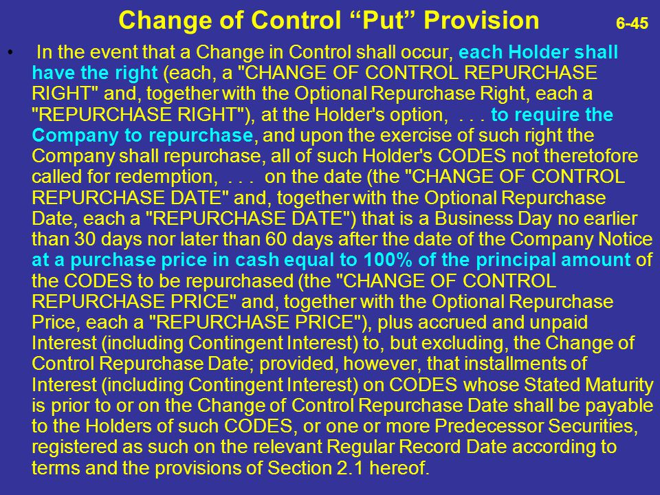 Change of Control Put Provision 6-45