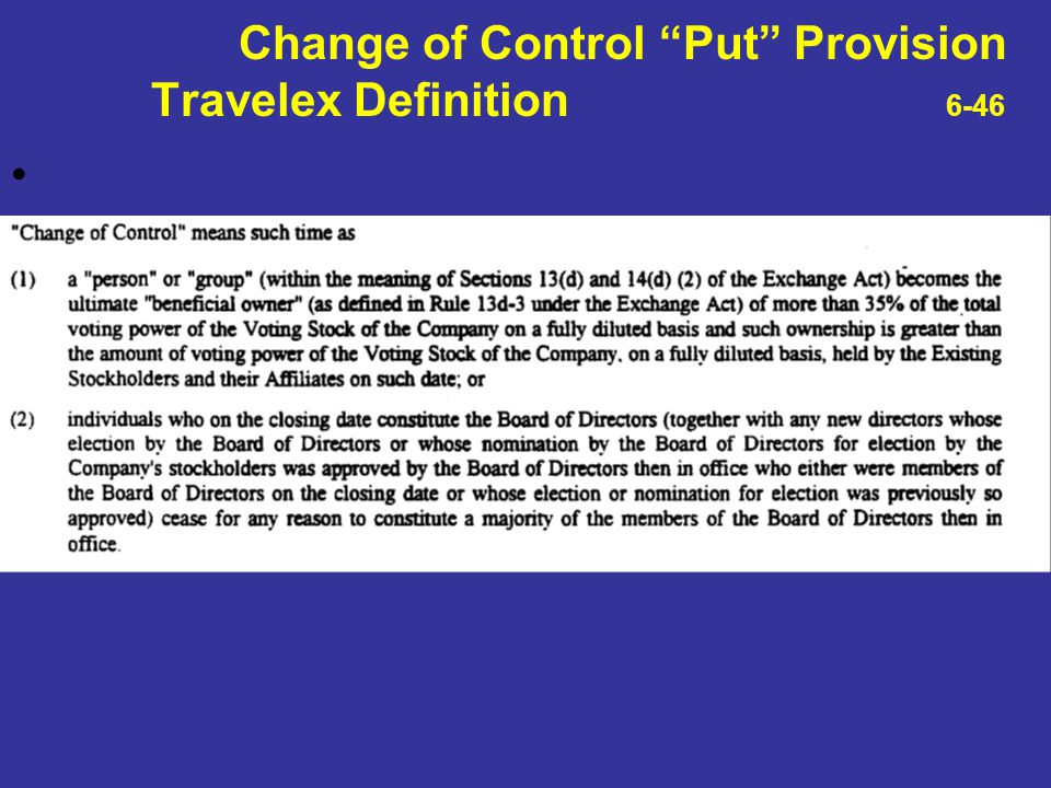 Change of Control Put Provision Travelex Definition 6-46