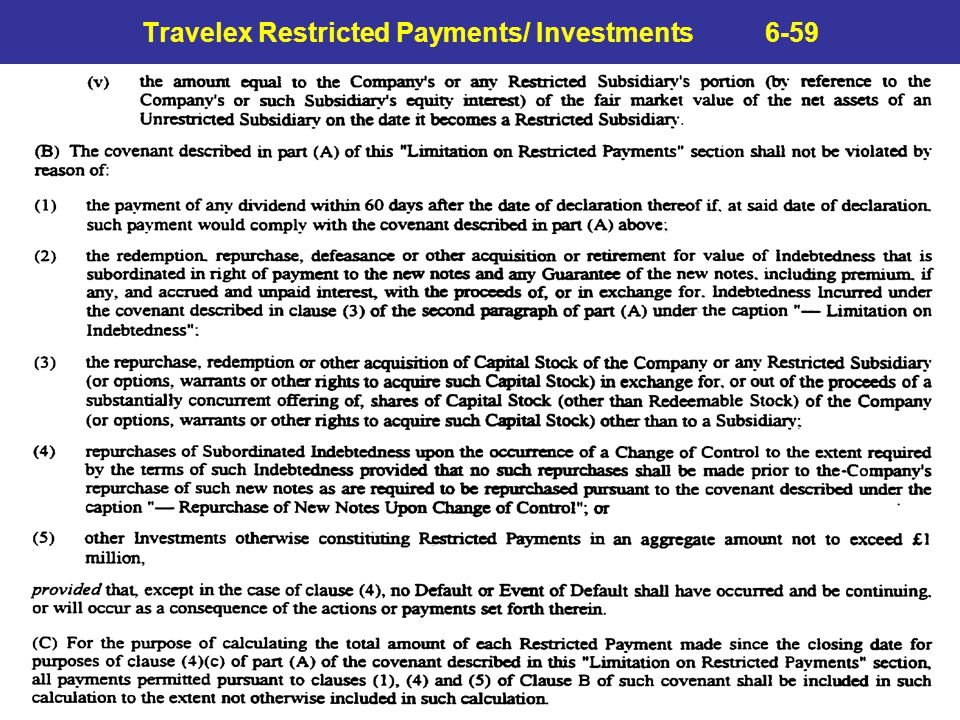 Travelex Restricted Payments/ Investments 6-59