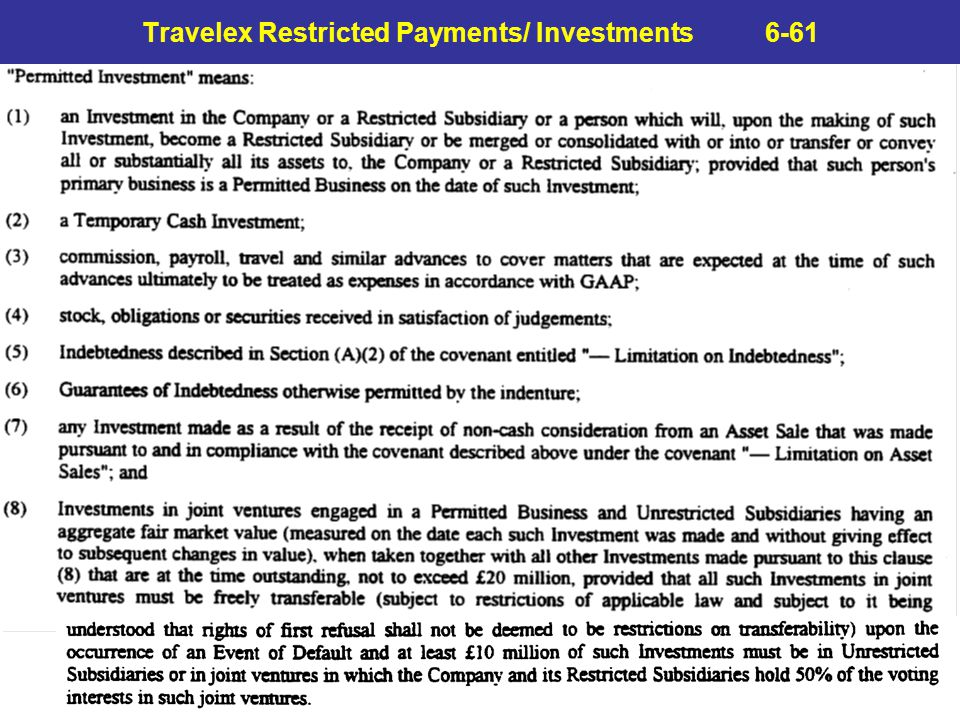 Travelex Restricted Payments/ Investments 6-61