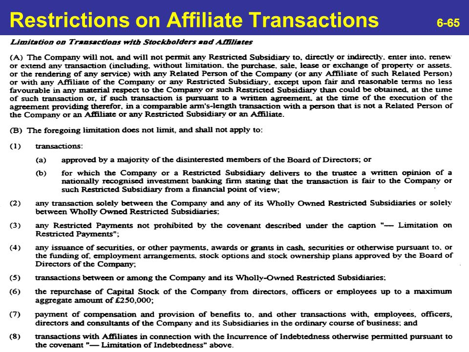 Restrictions on Affiliate Transactions 6-65