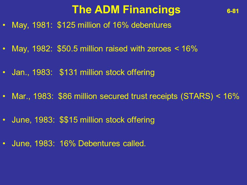 The ADM Financings 6-81 May, 1981: $125 million of 16% debentures