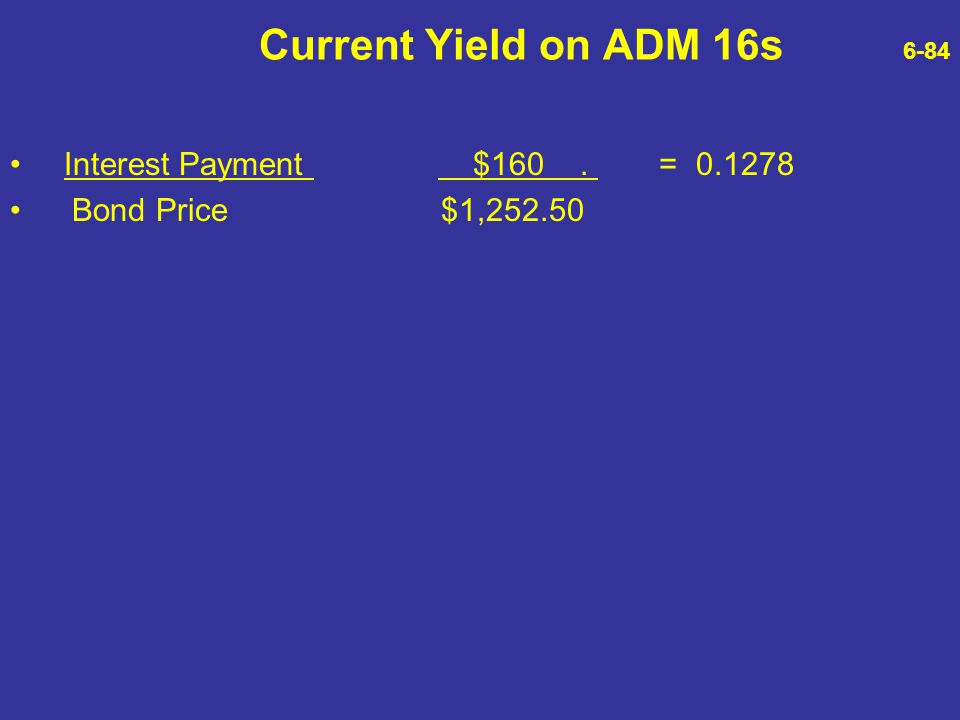 Current Yield on ADM 16s 6-84 Interest Payment $160 . = 0.1278