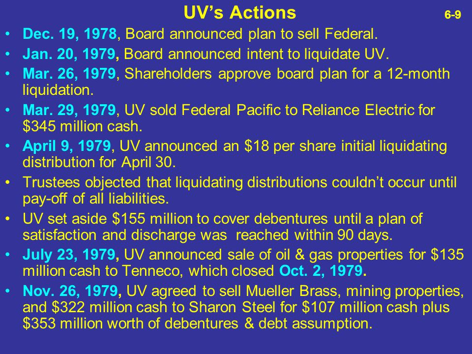 UV's Actions 6-9 Dec. 19, 1978, Board announced plan to sell Federal.