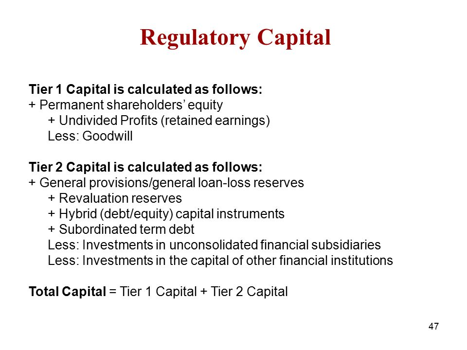 Regulatory Capital Tier 1 Capital is calculated as follows: