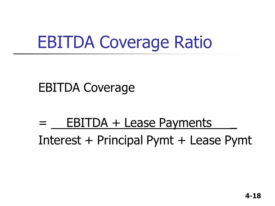 EBITDA Coverage Ratio EBITDA Coverage = EBITDA + Lease Payments _