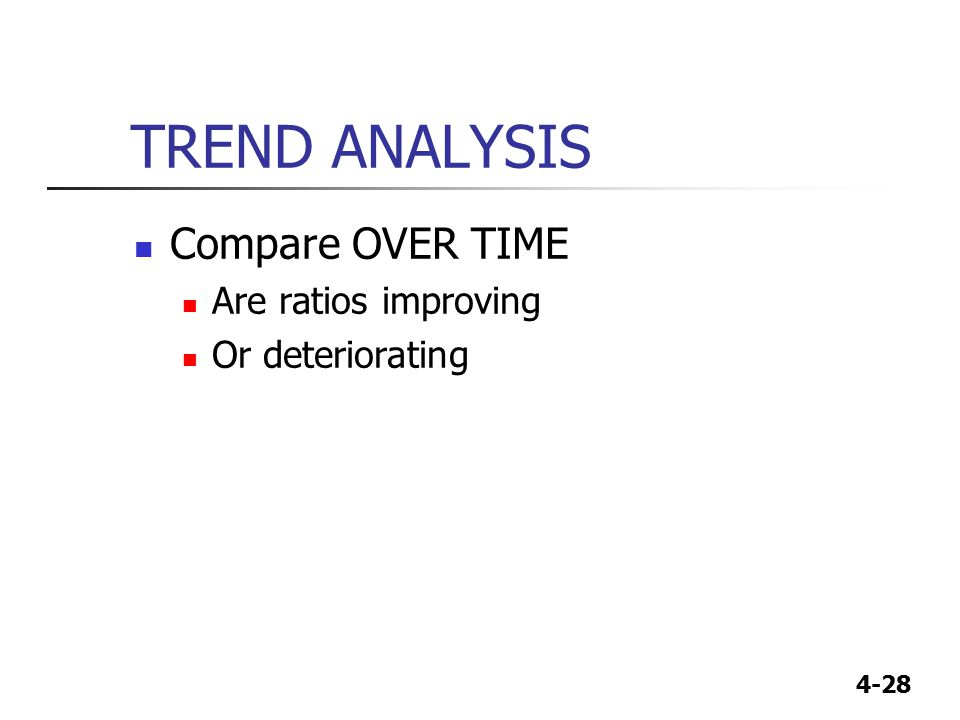 TREND ANALYSIS Compare OVER TIME Are ratios improving Or deteriorating