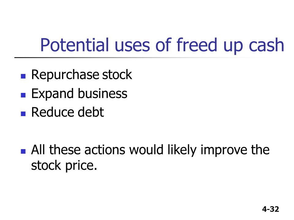 Potential uses of freed up cash
