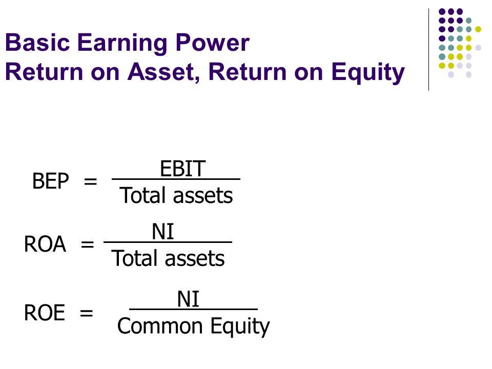 Basic Earning Power Return on Asset, Return on Equity