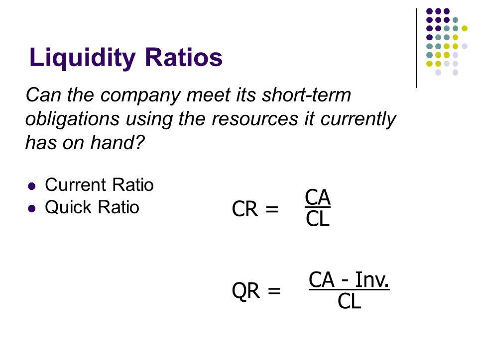 Liquidity Ratios CA CR = CL CA - Inv. QR =