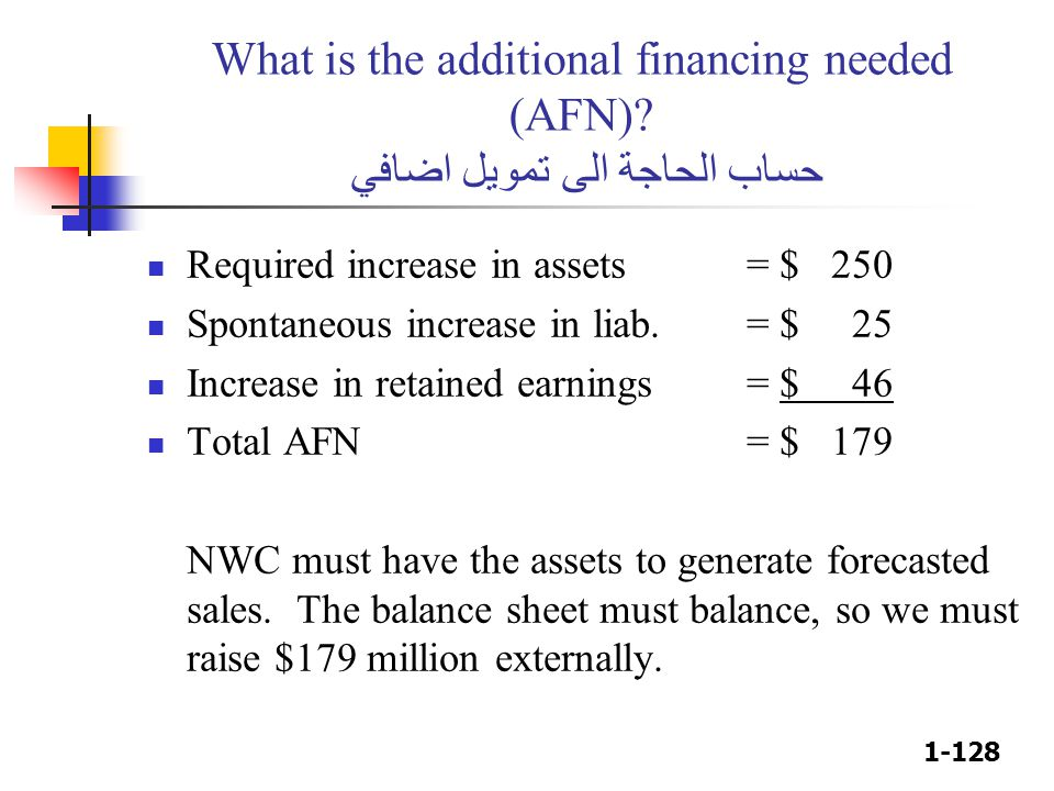 What is the additional financing needed (AFN)