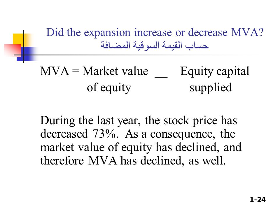 MVA = Market value __ Equity capital of equity supplied