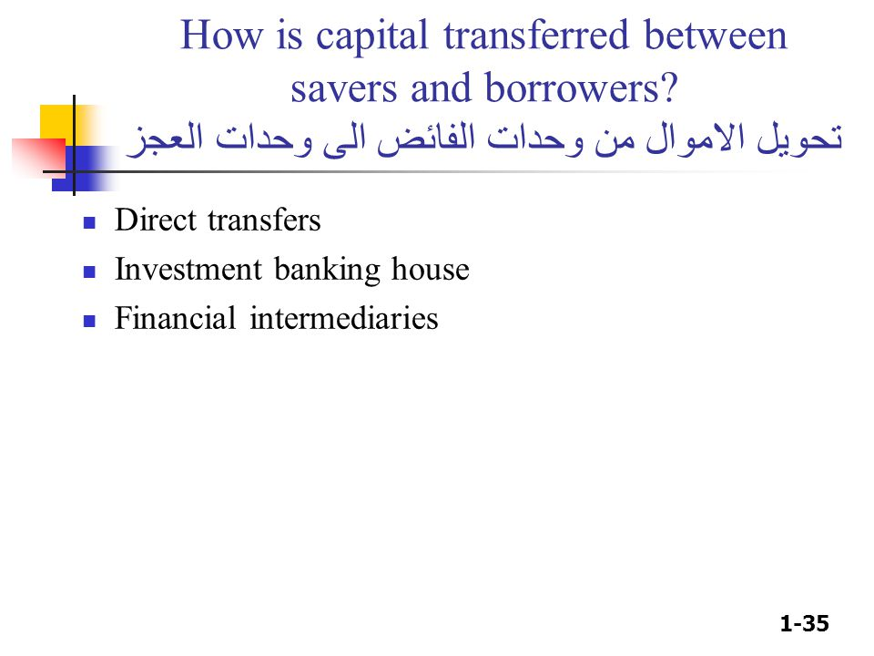 How is capital transferred between savers and borrowers