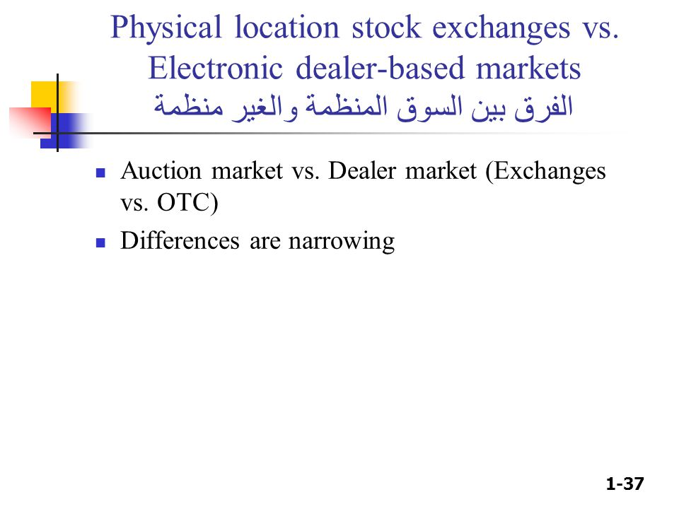 Physical location stock exchanges vs