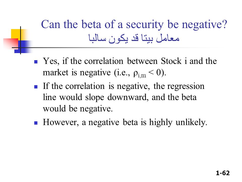 Can the beta of a security be negative معامل بيتا قد يكون سالبا
