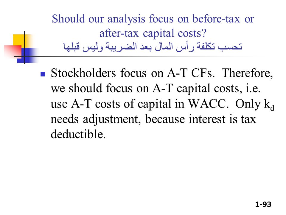 Should our analysis focus on before-tax or after-tax capital costs