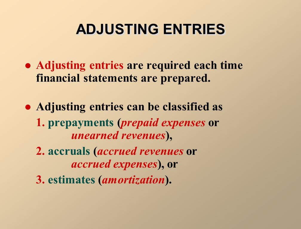 ADJUSTING ENTRIES Adjusting entries are required each time financial statements are prepared. Adjusting entries can be classified as.