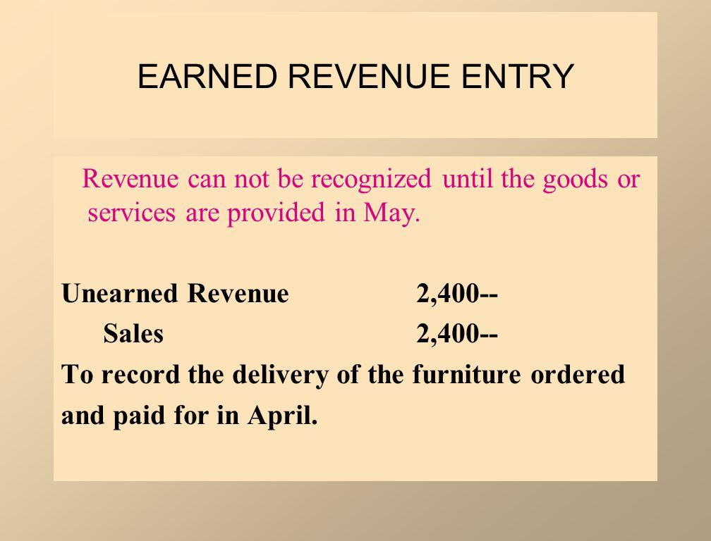 EARNED REVENUE ENTRY Revenue can not be recognized until the goods or services are provided in May.