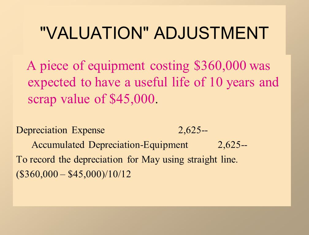 VALUATION ADJUSTMENT A piece of equipment costing $360,000 was expected to have a useful life of 10 years and scrap value of $45,000.